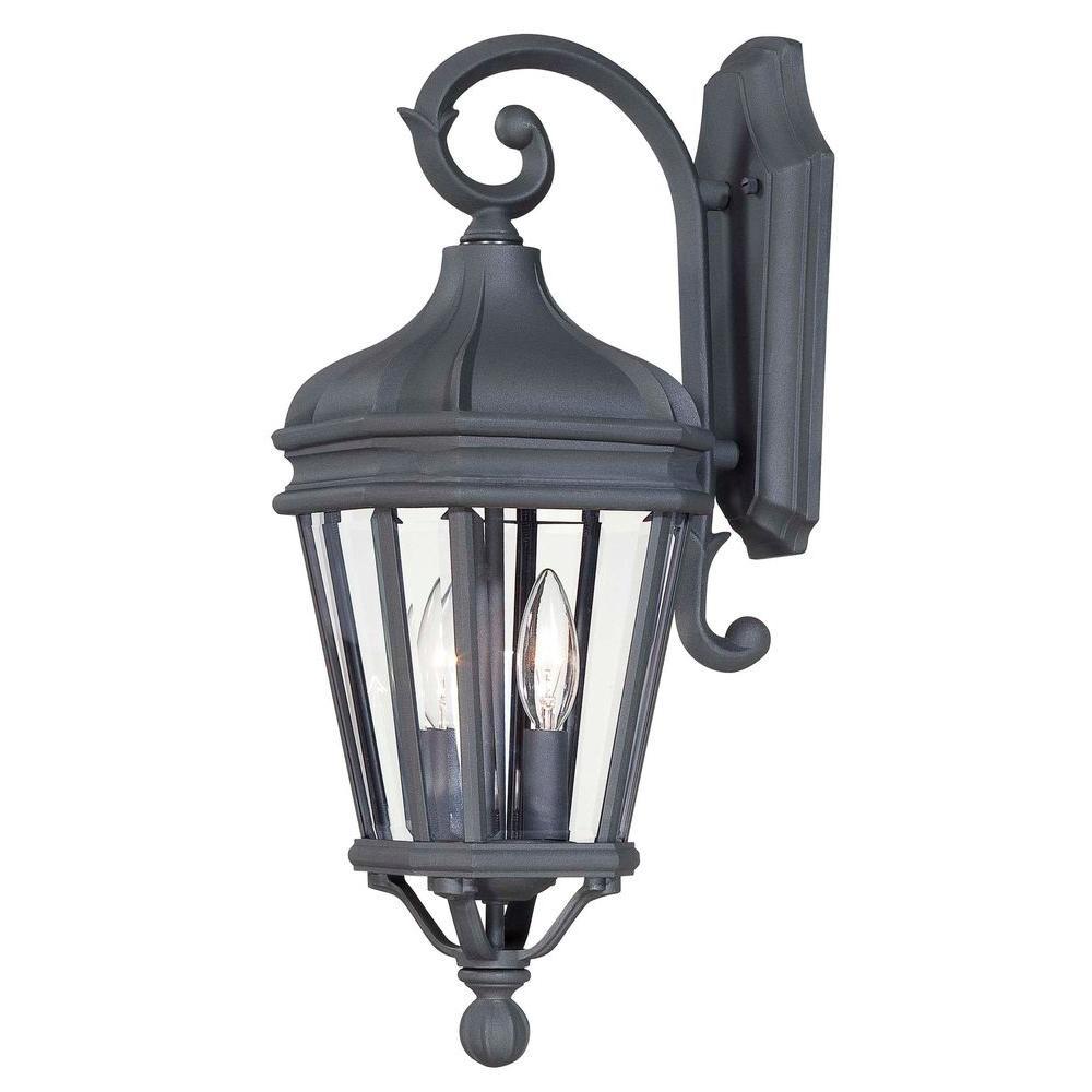 Harrison 2-Light Black Outdoor Wall Mount Lantern