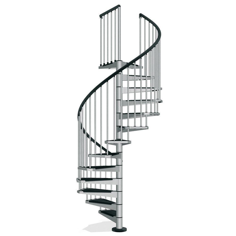 Civik 63 in. Grey Spiral Staircase Kit