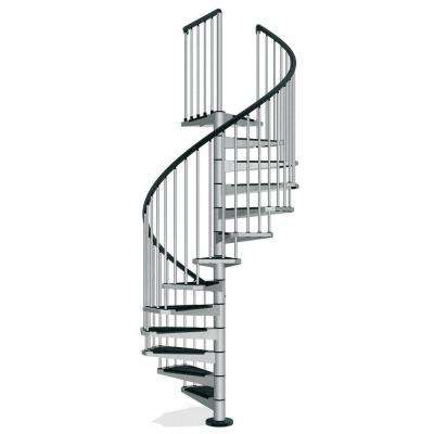 Civik 63 in. Grey Spiral Staircase Kit