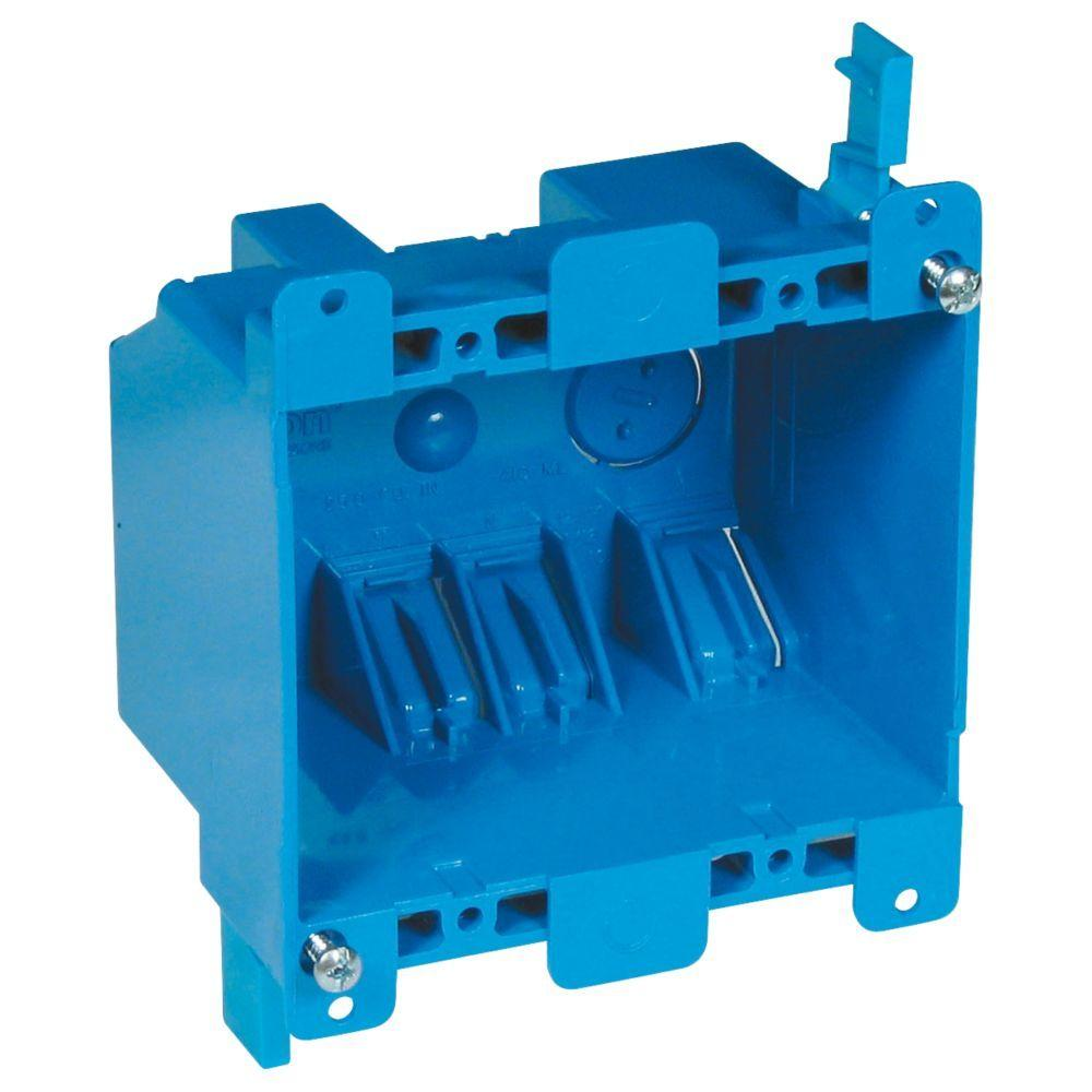 Carlon 2-Gang 25 cu. in. Blue PVC Old Work Switch and Outlet Box ...