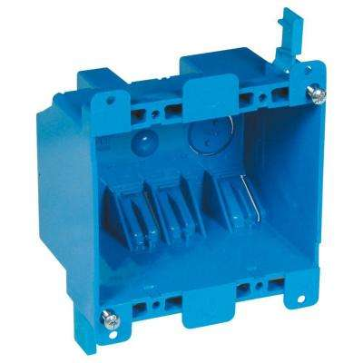2-Gang 25 cu. in. Blue PVC Old Work Switch and Outlet Box