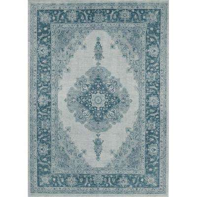 Washable Parisa Blue 5 ft. x 7 ft. Stain Resistant Area Rug