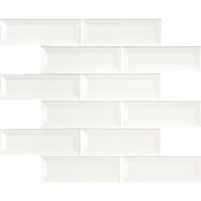 Whisper White Beveled 12 in. x 12 in. x 10mm Glossy Ceramic Mesh-Mounted Mosaic Wall Tile (10 sq. ft. / case)