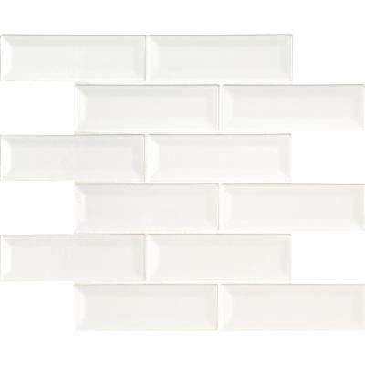 Whisper White Beveled 12 in. x 12 in. x 10mm Ceramic Mesh-Mounted Mosaic Wall Tile (10 sq. ft. / case)