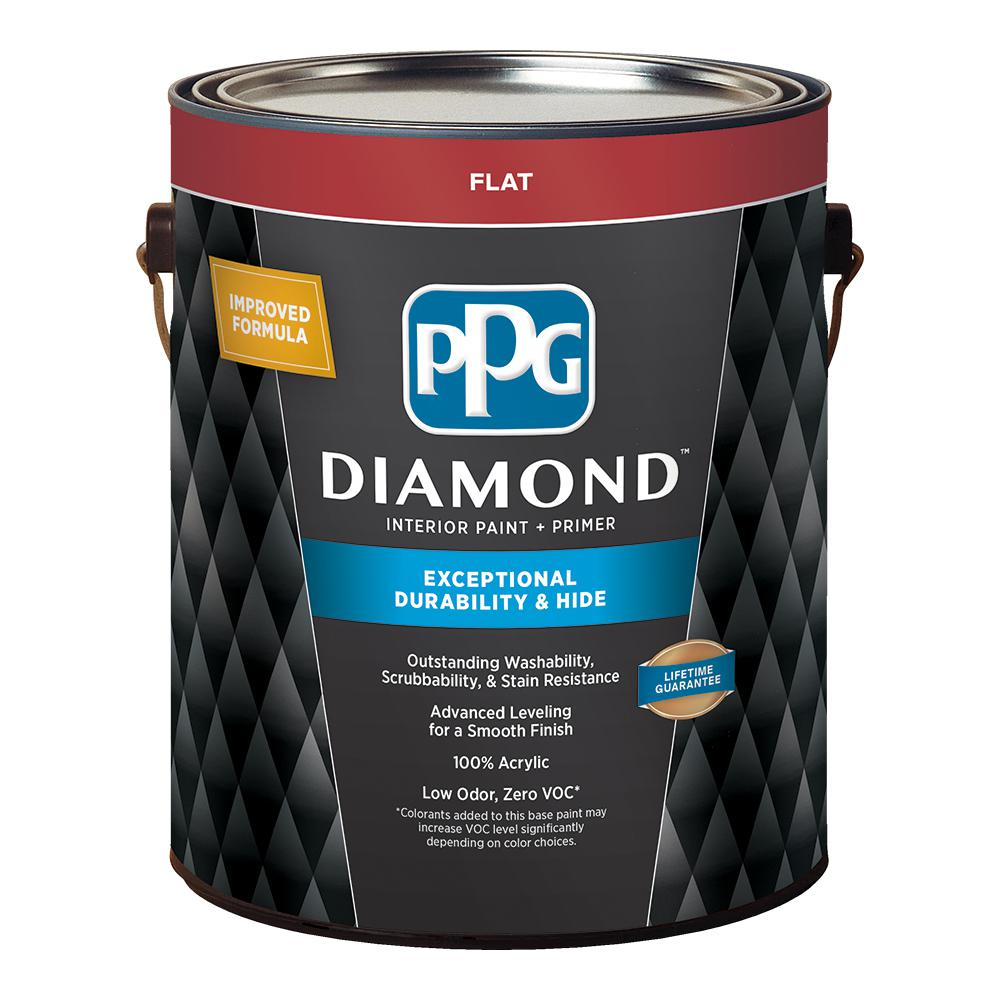 PPG Diamond 1 gal. Pure White Flat Enamel Interior Paint and Primer ...