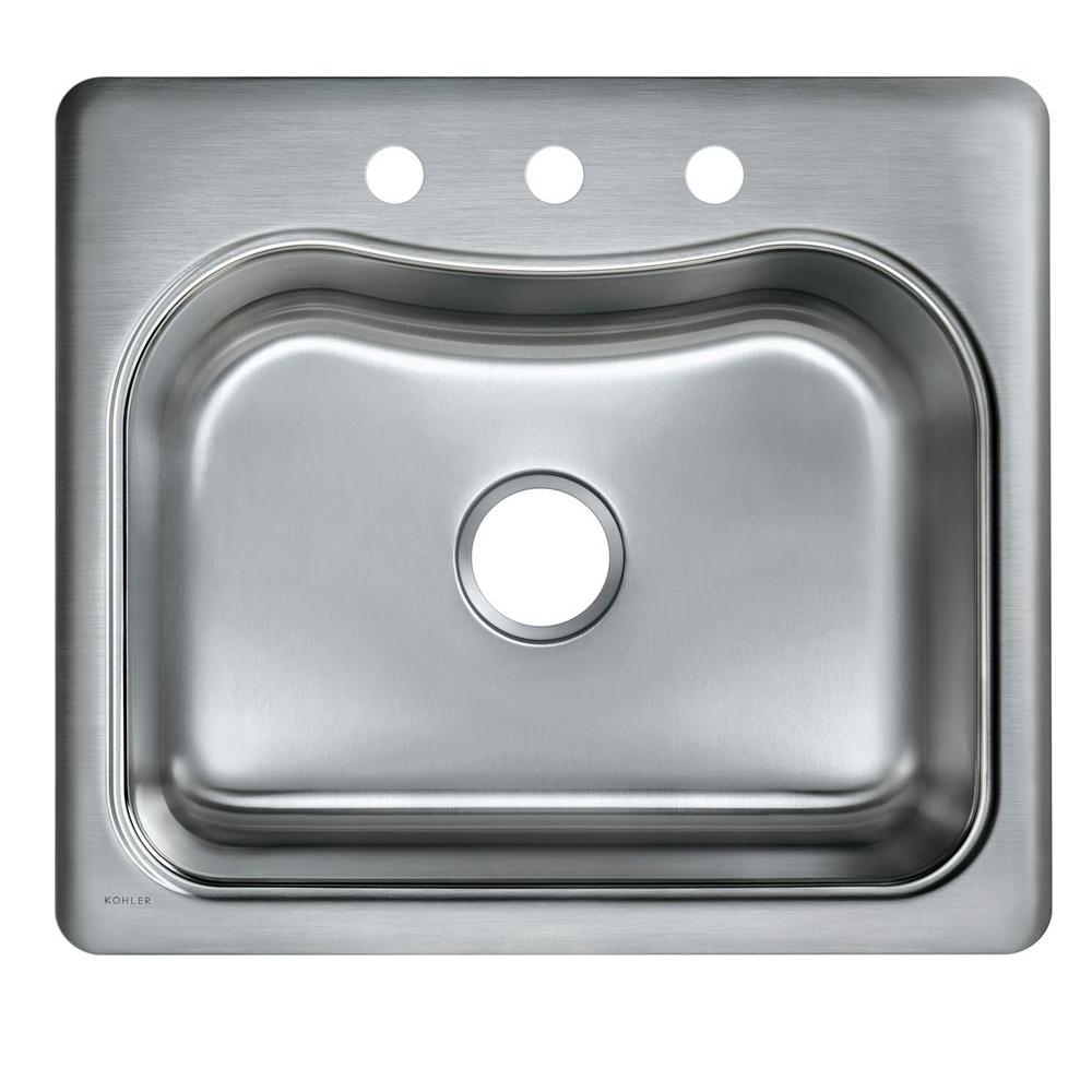 Staccato Drop-In Stainless Steel 25 in. 3-Hole Single Bowl Kitchen Sink
