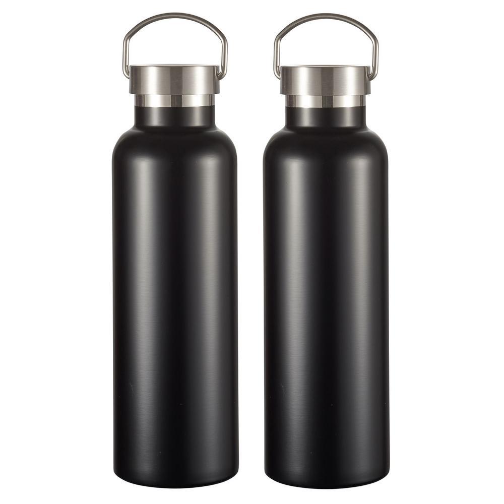 James 24 oz. 2-Piece Matte Black Insulated Water Bottle