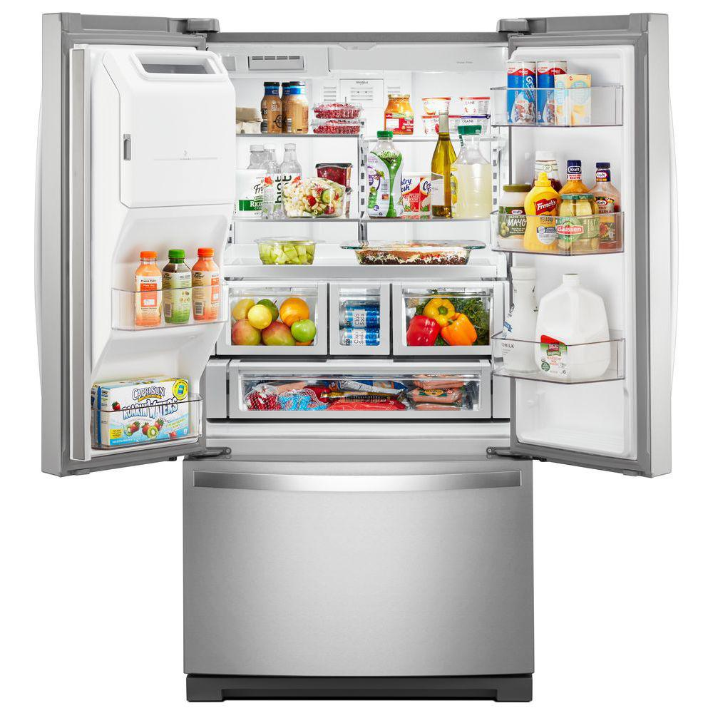 Whirlpool 27 Cu Ft French Door Refrigerator In Fingerprint Resistant Stainless Steel Wrf767sdhz The Home Depot