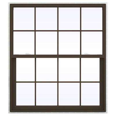 47.5 in. x 59.5 in. V-2500 Series Single Hung Vinyl Window with Grids - Brown