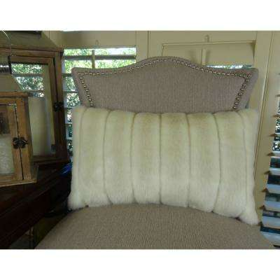 Fancy Mink 12 in. x 20 in. Ivory Off White Hypoallergenic Down Alternative Handmade Throw Pillow