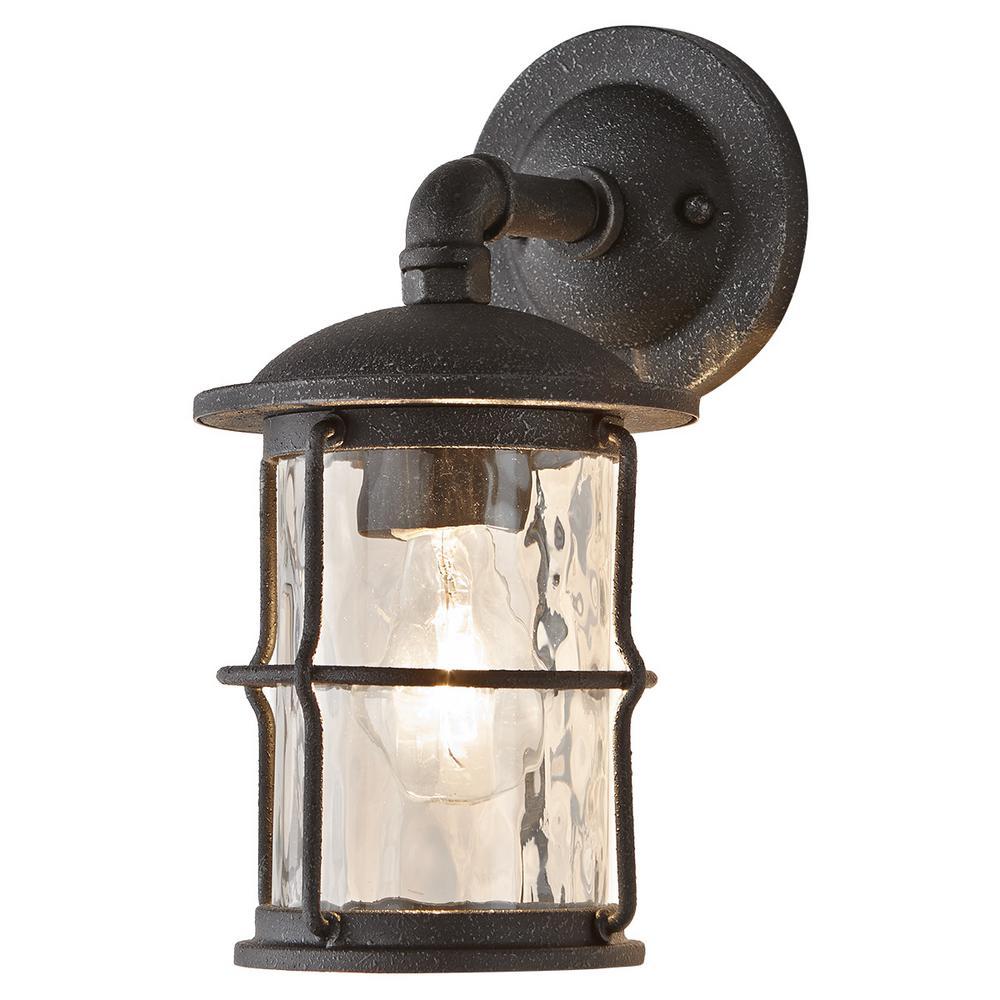 1-Light Gilded Iron Outdoor Wall Mount Lantern