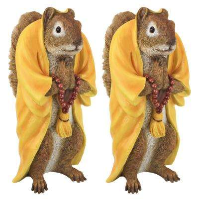 Sensei Monk Zen Garden Squirrel Animal Statue Set (2-Piece)