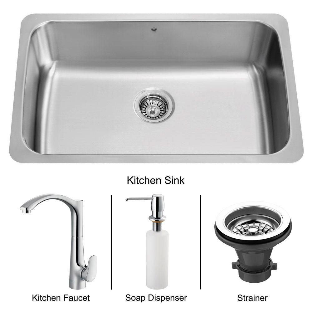 Vigo All-in-One Undermount Stainless Steel 28x17x9.875 0-Hole Single Basin Kitchen Sink-DISCONTINUED