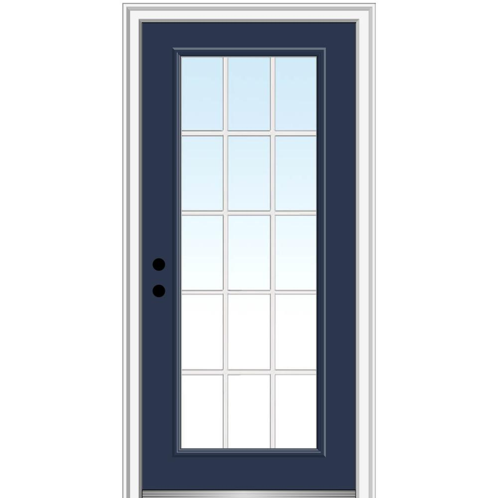 MMI Door 32 in. x 80 in. Internal Grilles Right-Hand Inswing Full Lite Clear Low-E Painted Fiberglass Smooth Prehung Front Door