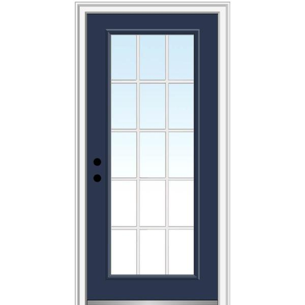 36 in. x 80 in. Internal Grilles Right-Hand Inswing Full Lite Clear Low-E Painted Fiberglass Smooth Prehung Front Door