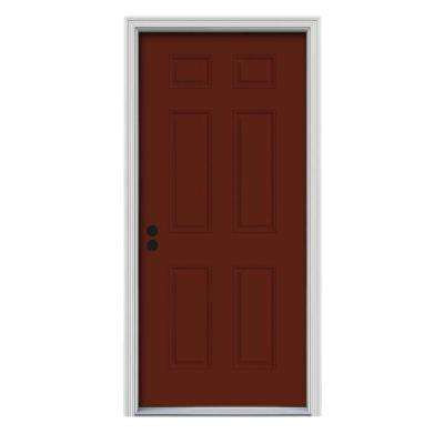 30 in. x 80 in. 6-Panel Mesa Red Painted Steel Prehung Right-Hand Inswing Front Door w/Brickmould