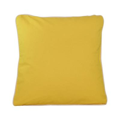 Yellow Solid Cotton 16 in. x 16 in. Throw Pillow