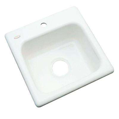 Manchester Drop-In Acrylic 16 in. 1-Hole Single Basin Entertainment Sink in White