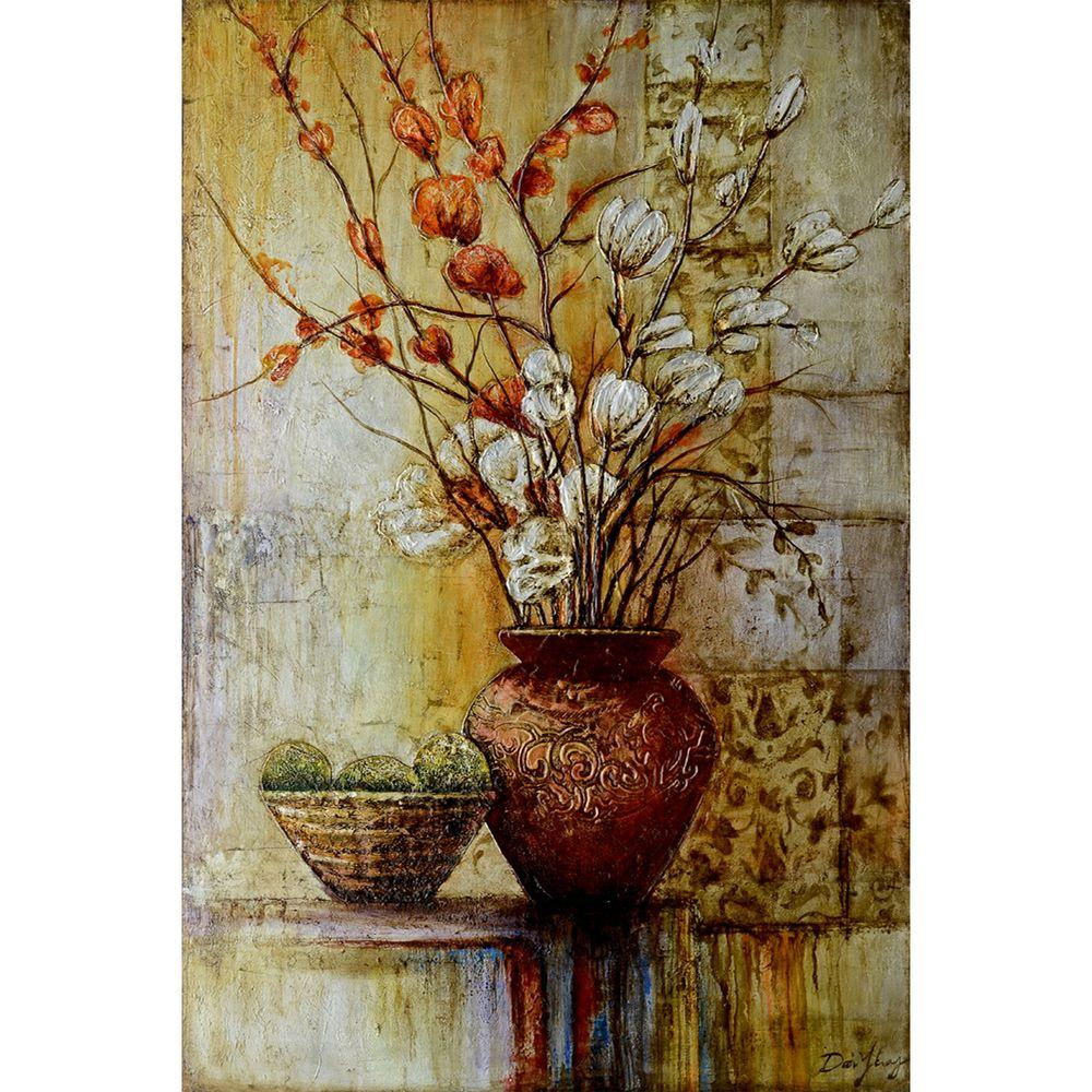 """Yosemite Home Decor 47 in. x 31 in. """"Abstract Arrangements II"""" Hand Painted Canvas Wall Art"""