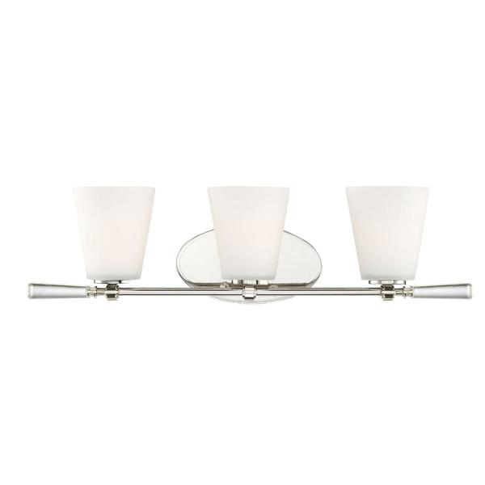 Abree 3-Light Polished Nickel Interior Bath Bar Light