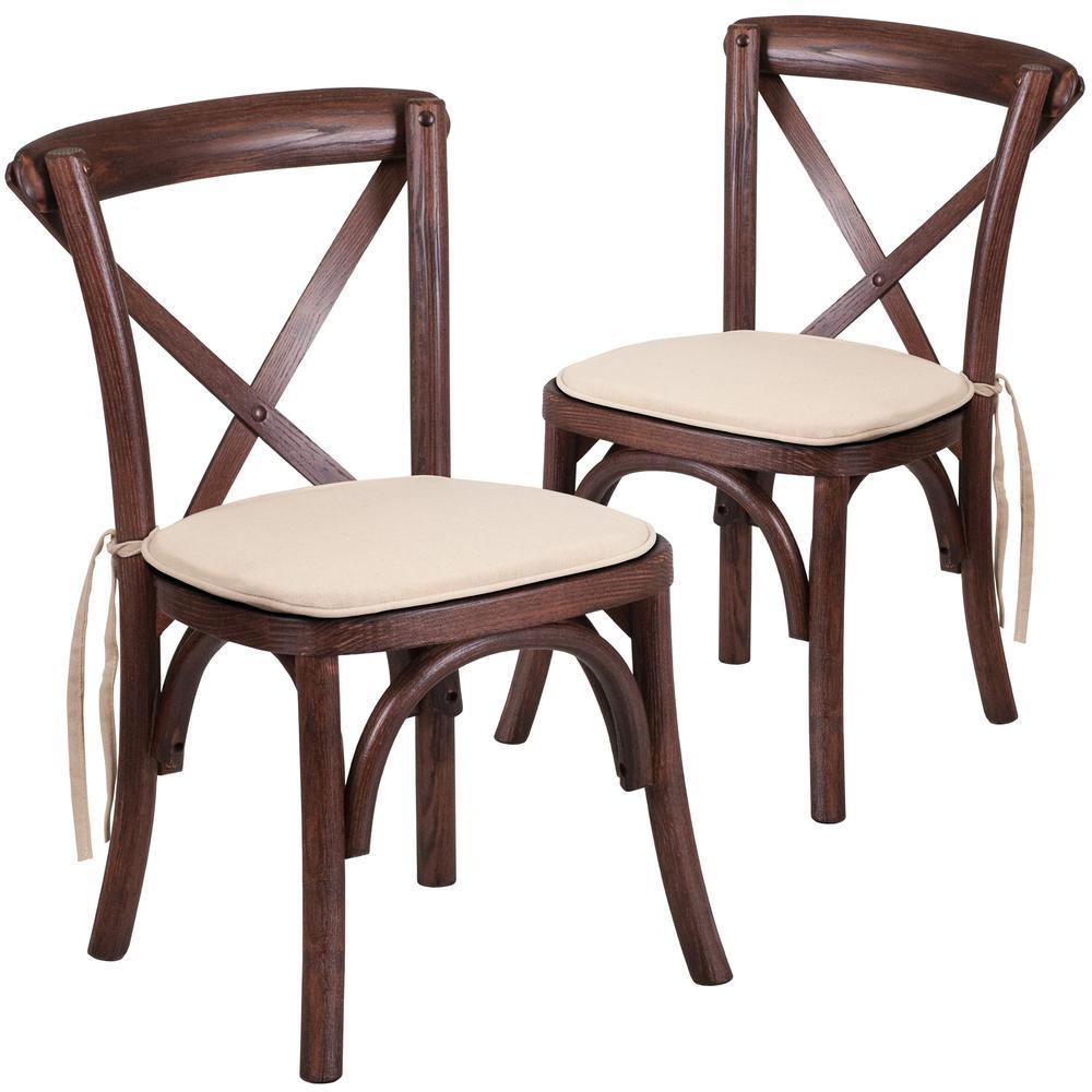 Mahogany Wood Cross Back Chair (Set of 2)