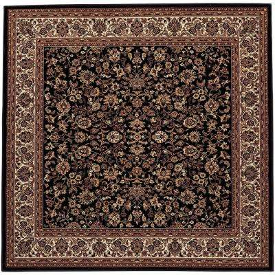 Everest Isfahan Black 5 ft. x 5 ft. Square Area Rug