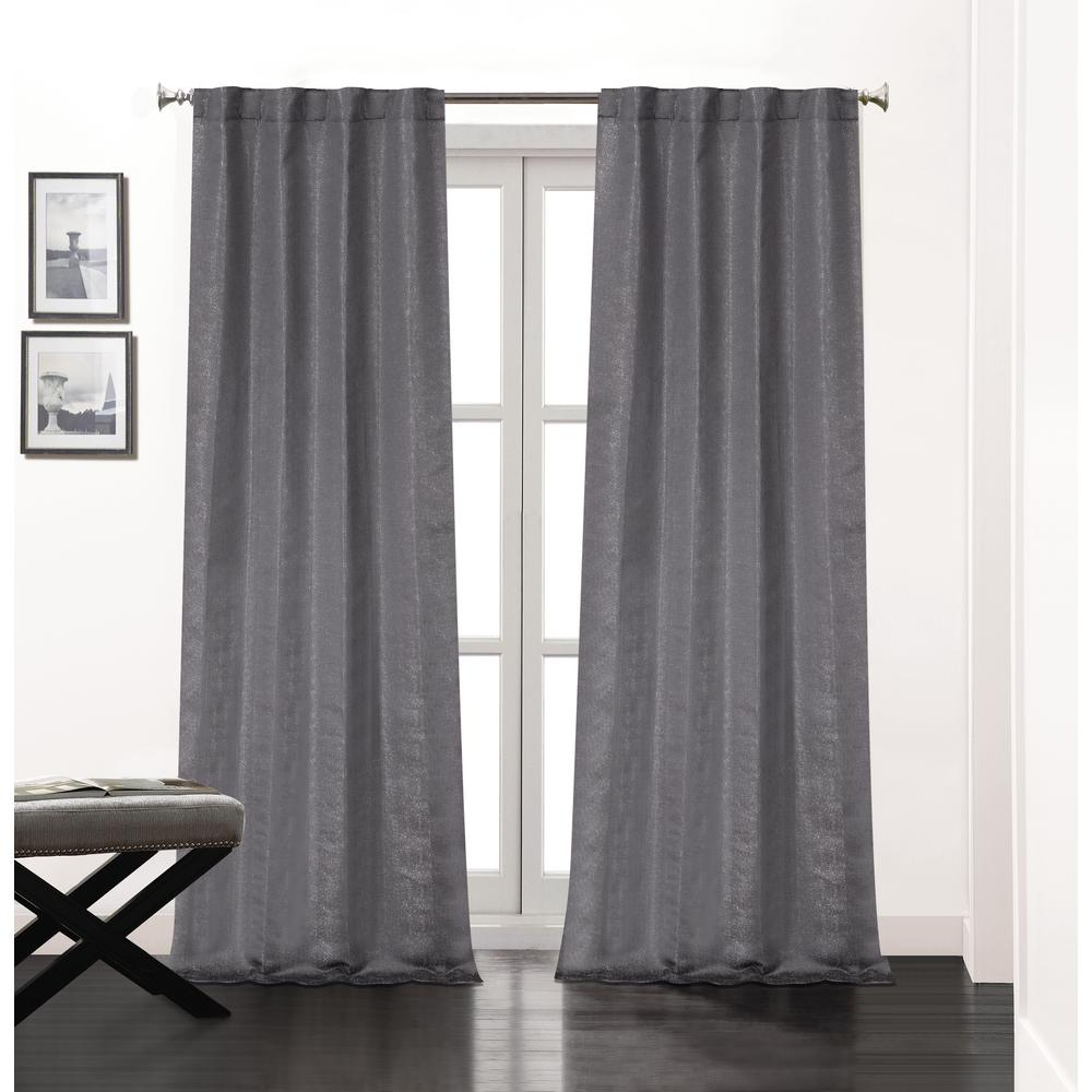 L Polyester Double Layer Lined Rod Pocket Window Curtain Panel Pair In Charcoal 2 Pack