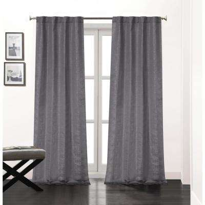 Soho 84 in. L Polyester Double Layer Lined Rod Pocket Window Curtain Panel Pair in Charcoal (2-Pack)