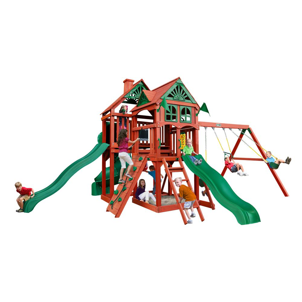 Gorilla Playsets Five Star II Deluxe Wooden Swing Set with 3 Slides and Rock Wall