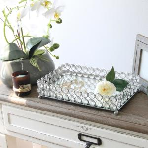 10.5 in. Chrome Elipse Crystal Decorative Mirrored Jewelry or Makeup Vanity Organizer Tray