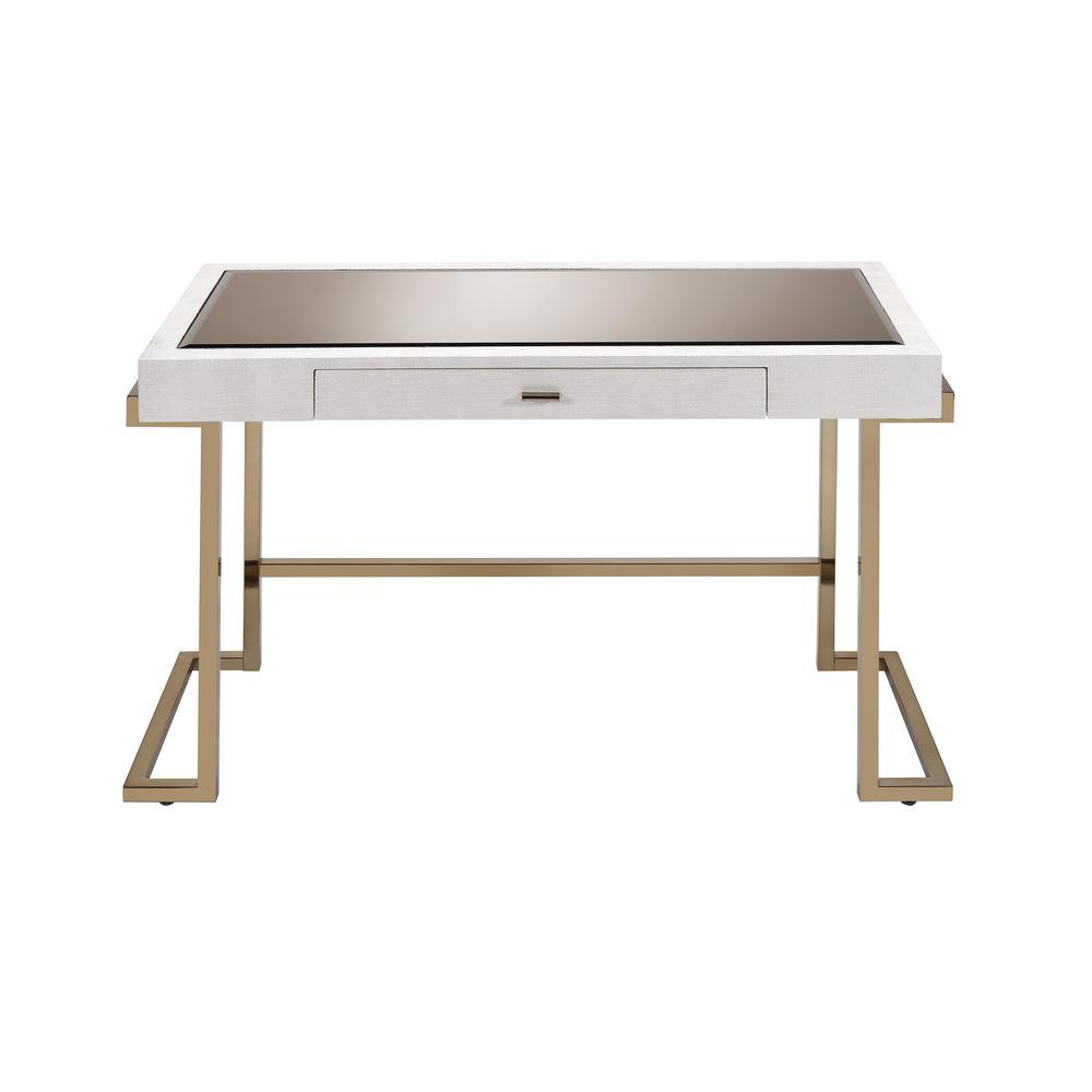 ACME Furniture White PU and Champagne Boice Writing Desk 92334