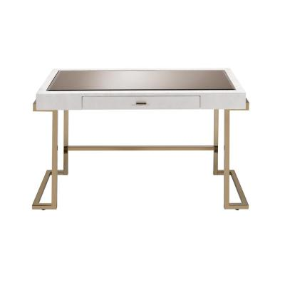 44 in. White Rectangular 1 -Drawer Writing Desk with Champagne Metal Base