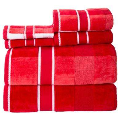 100% Cotton Oakville Velour Towel Set in Red (6-Piece)