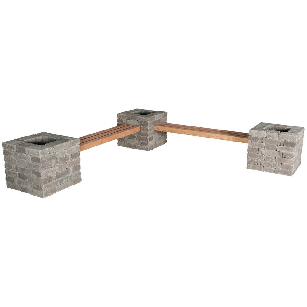 Pavestone Rumblestone RumbleStone 114 in. x 24.5 in. x 17.5 in. Concrete Garden Bench/Planter Kit in Greystone