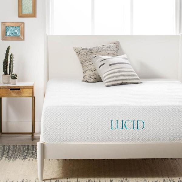 Lucid 14 in. Queen Plush Ventilated Bamboo Charcoal Mattress