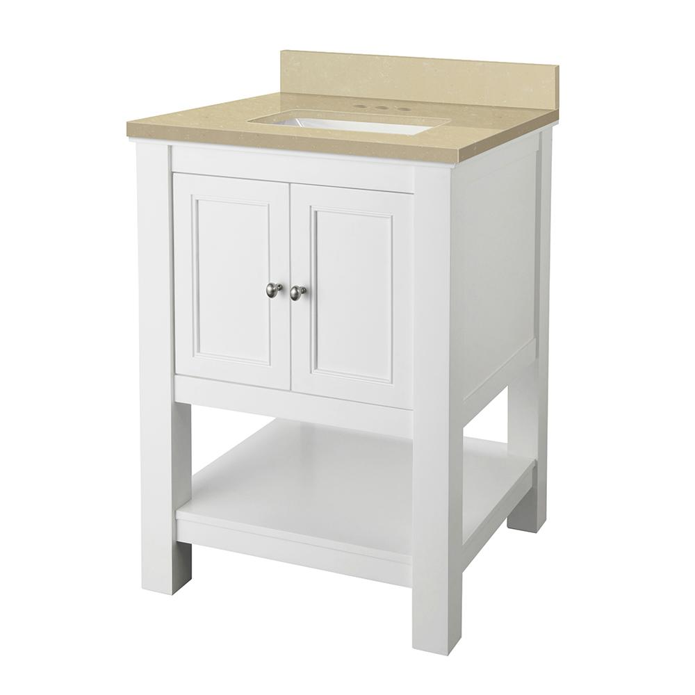 Home Decorators Collection Gazette 25 in. W x 22 in. D Vanity in White with Engineered Marble Vanity Top in Crema Limestone with White Sink was $549.0 now $384.3 (30.0% off)