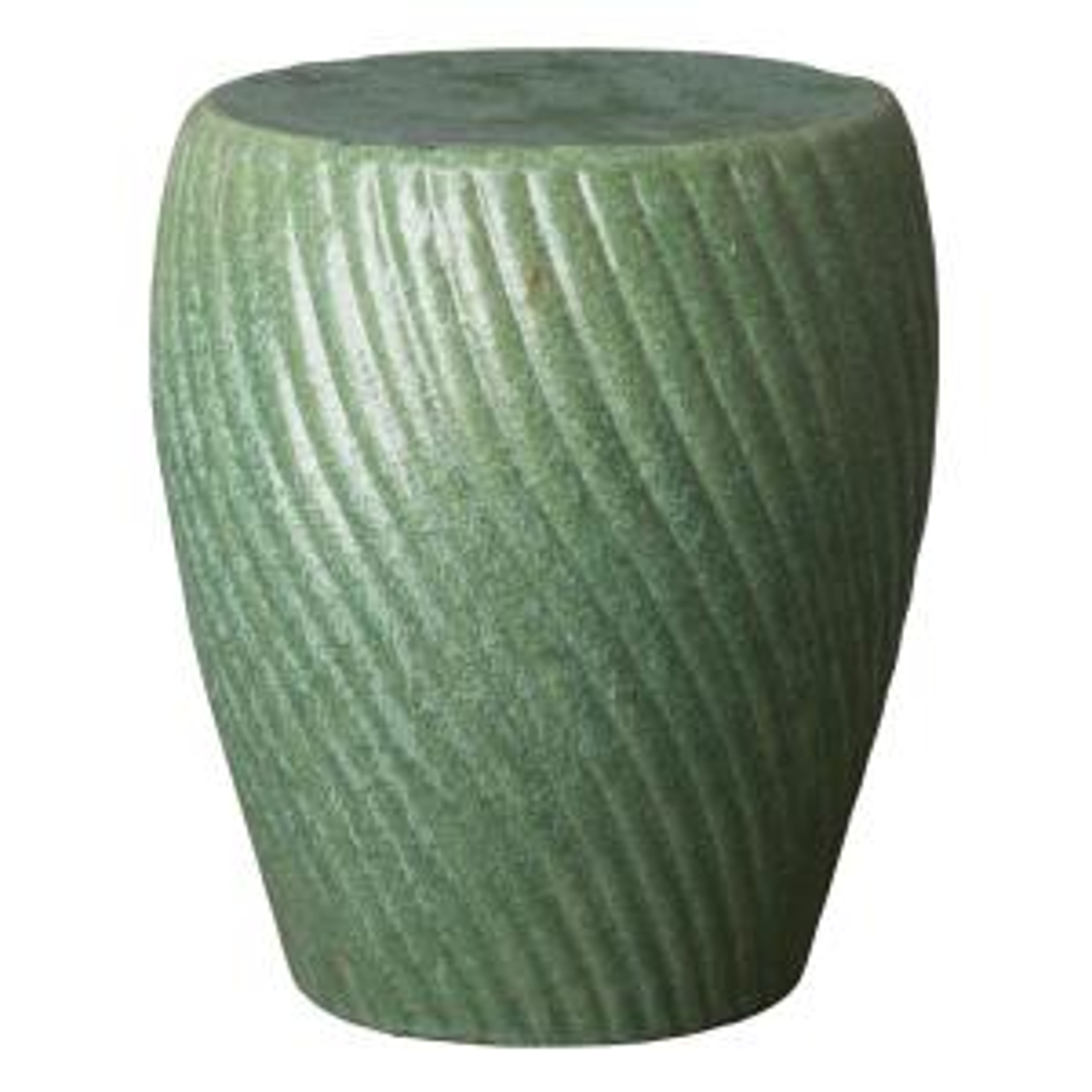 Spiral Metallic Mint Ceramic Garden Stool