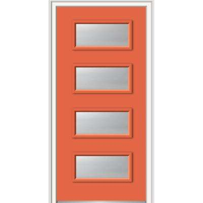 36 in. x 80 in. Celeste Left-Hand Inswing 4-Lite Frosted Glass Painted Steel Prehung Front Door on 6-9/16 in. Frame