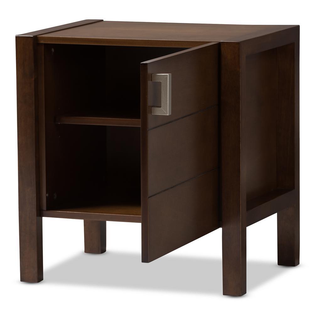 Mandel 1-Door Walnut Brown Nightstand