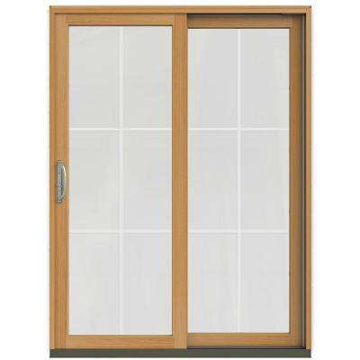 59.25 in. x 79.5 in. W-2500 Brilliant White Prehung Left-Hand Sliding 6-Lite Pine Patio Door w/ Stain Fruitwood Interior