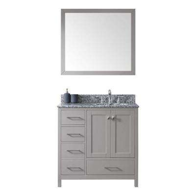 Caroline Madison 36 in. W Bath Vanity in C. Gray with Granite Vanity Top in Arctic White with Rnd. Basin and Mirror