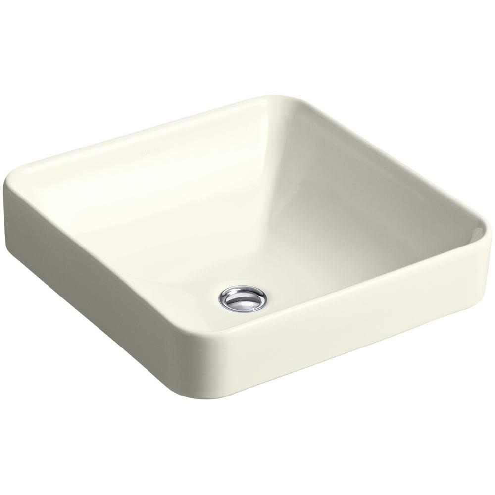 KOHLER Vox Square Vitreous China Vessel Sink in Biscuit ...