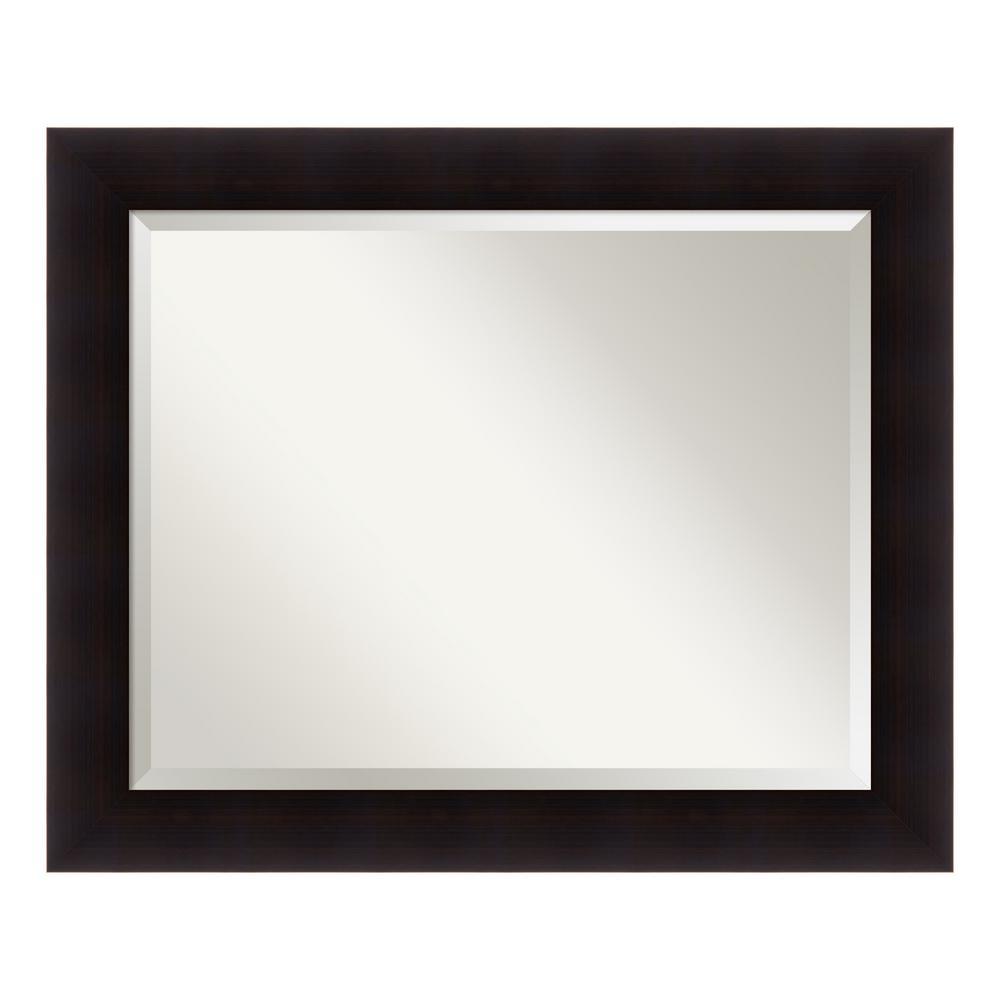 Portico Espresso Wood 34 in. W x 28 in. H Contemporary Bathroom Vanity Mirror