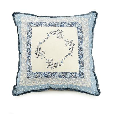 Charlotte Blue Embroidered Square 16 in. x 16 in. Decorative Pillow