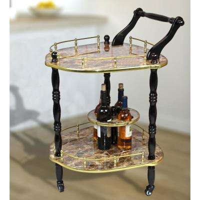 Gold Marble Finish 2-Tier Elegantly Shaped Serving Tea Cart