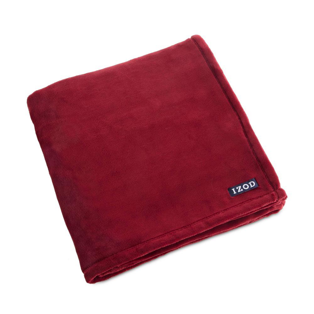 Biking Red Plush Red Polyester Throw