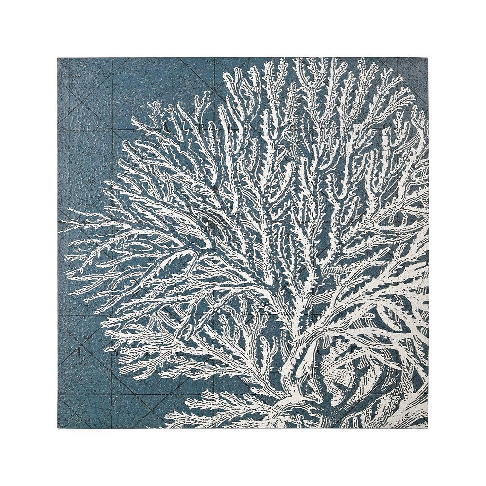 "24 in. x 24 in. ""White Coral"" Hand Painted Canvas Wall"