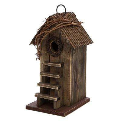 10.24 in. H Distressed Solid Wood Birdhouse with Steps