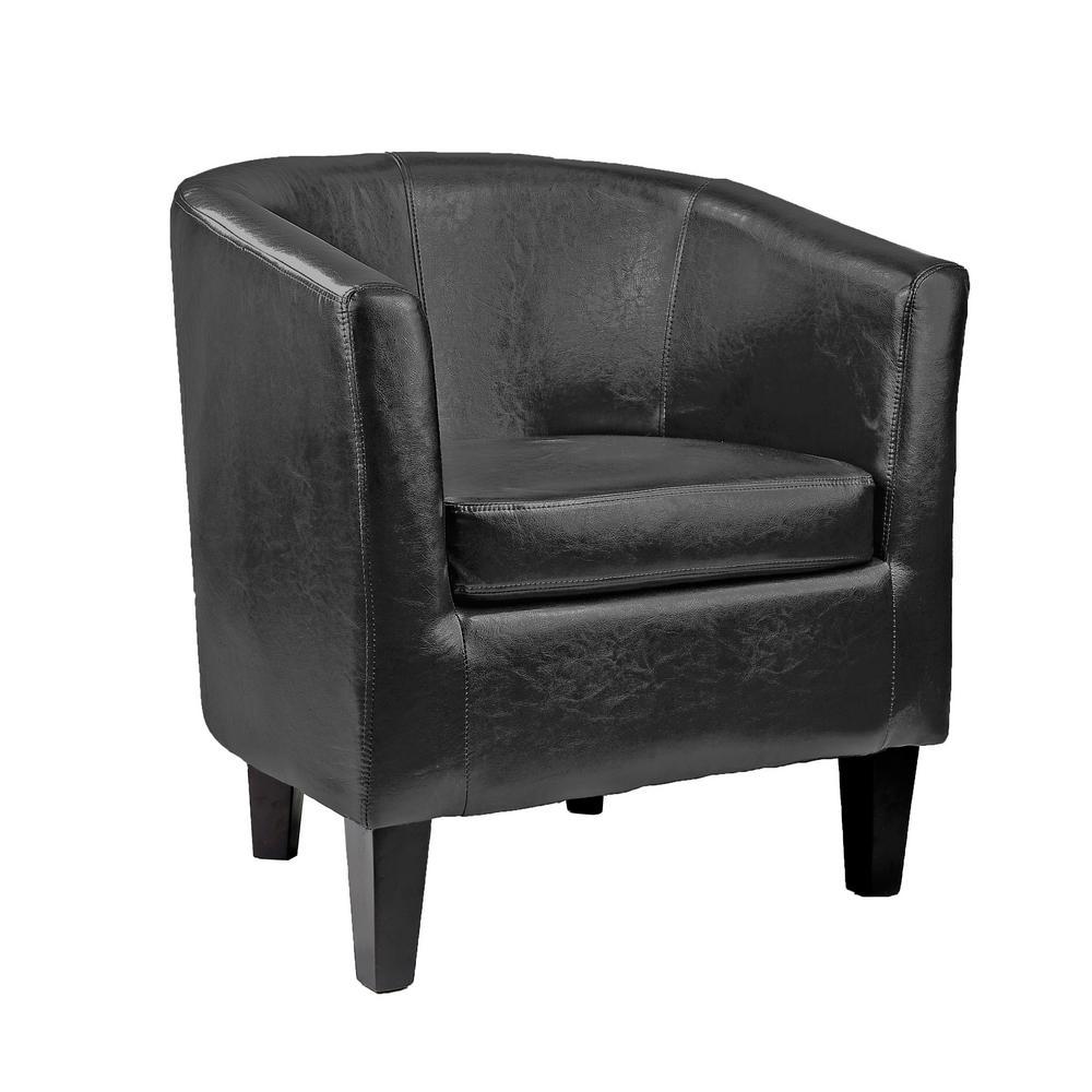 Antonio Black Bonded Leather Tub Chair