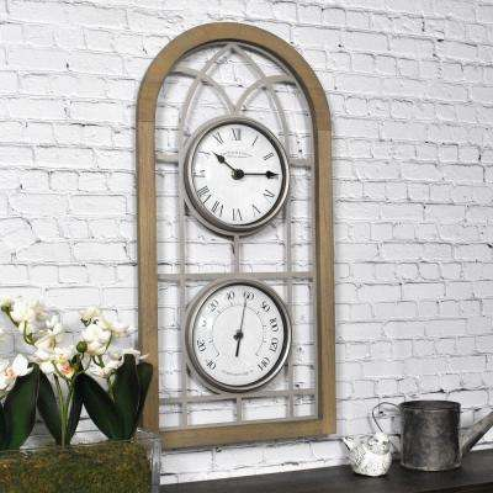 20 in. x 10 in. Farmhouse Arch Outdoor Clock